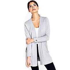 Wallis - Petite grey longline cardigan