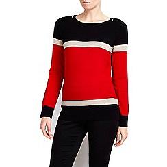 Wallis - Petite red colour block striped jumper