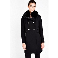 Wallis - Petite black fur collar coat