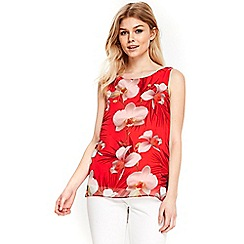 Wallis - Petite coral floral shell top