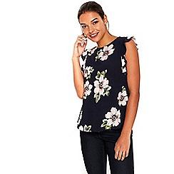 Wallis - Petite navy spring floral top