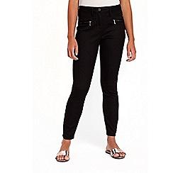 Wallis - Petite black zip trousers