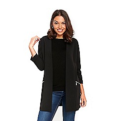 Wallis - Petite black longline scuba blazer jacket