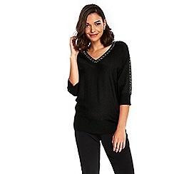 Wallis - Petite black metallic v-neck tunic