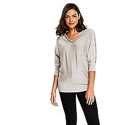 Wallis - Petite oyster metallic v-neck tunic
