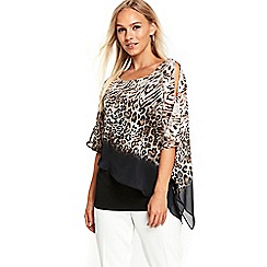 Wallis - Animal embellished overlay top
