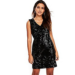 Wallis - Petite black sequin embellished shift dress