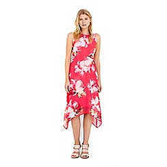 Wallis - Petite pink floral dippy hem dress
