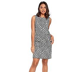 Wallis - Petite black & white jacquard zipped pocket dress