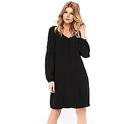 Wallis - Petite black balloon sleeve dress