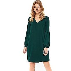 Wallis - Petite forest green balloon sleeve shift dress