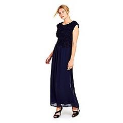 Wallis - Petite navy lace top maxi dress
