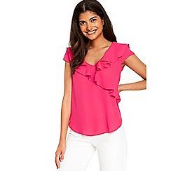 Wallis - Petite pink ruffle front top