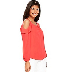 Wallis - Petite coral cold shoulder top