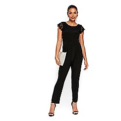 Wallis - Petite black lace shoulder jumpsuit