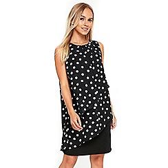 Wallis - Petite polka dot ruffle front dress