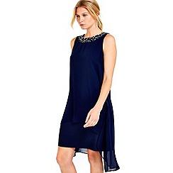 Wallis - Petite navy embellished overlay dress