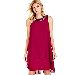 Wallis - Petite berry embellished overlay dress