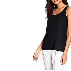Wallis - Petite black round neck camisole top