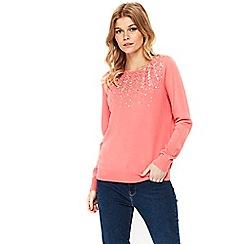 Wallis - Petite pink embellished neck jumper