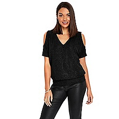 Wallis - Petite black sparkle blouse