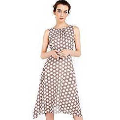 Wallis - Petite taupe spot hanky hem dress