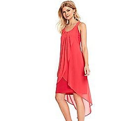 Wallis - Petite coral embellished overlayer dress