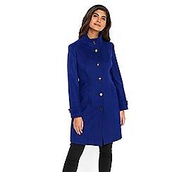 Wallis - Petite cobalt faux wool funnel coat