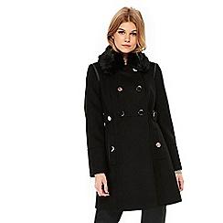 Wallis - Petite black fur collar coat