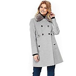 Wallis - Petite Grey Faux Fur Collar Coat