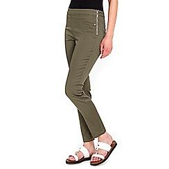Wallis - Petite khaki side zip trousers