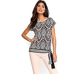 Wallis - Petite stone tribal print tie side top