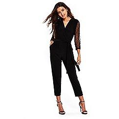 Wallis - Petite mesh sleeve jumpsuit