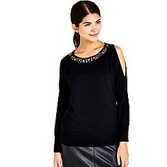 Wallis - Petite black embellished neck jumper
