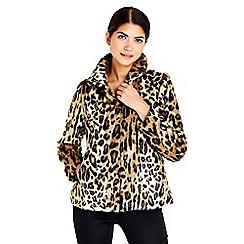 Wallis - Petite leopard faux fur coat
