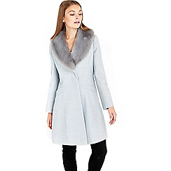 Wallis - Petite grey fit and flare coat