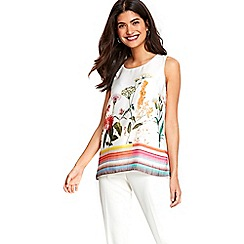 Wallis - Petite ivory stripe floral top