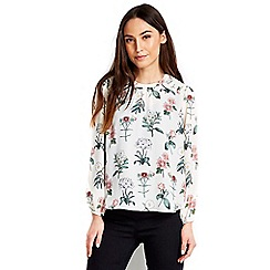 Wallis - Sheer shoulder floral blouse