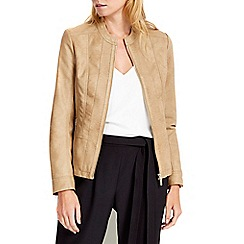 Wallis - Petite tan zip front jacket