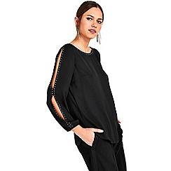 Wallis - Petite black embellished top