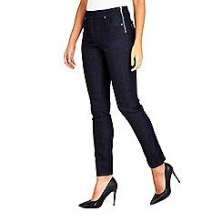 Wallis - Petite navy demi side zip jeans