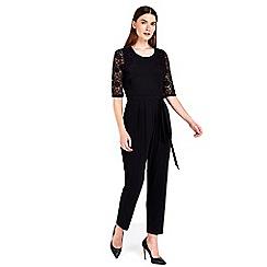 Wallis - Petite black lace jumpsuit
