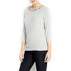 Wallis - Petite grey beaded necklace jumper