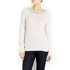 Wallis - Petite pink beaded necklace jumper