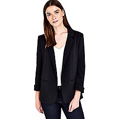 Wallis - Petite black ribbed blazer jacket