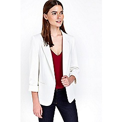 Wallis - Petite ivory ribbed jacket