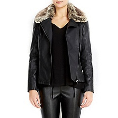 Wallis - Petite fur collar biker jacket