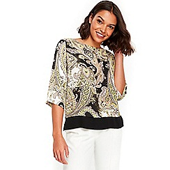 Wallis - Petite lime paisley double layer top