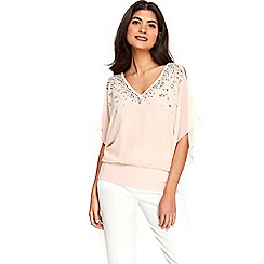 Wallis - Petite pink embellished top