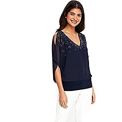 Wallis - Petite navy embellished top